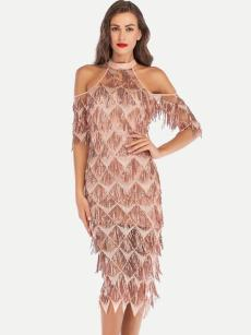 Off Shoulder Sequin Tassel Bodycon Evening Dress