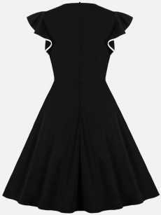 60s Black Ruffle Short Sleeve Dress
