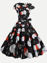 60s Vintage Black Christmas Print Dress