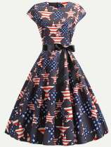 60s Black Star Print A-line Dress