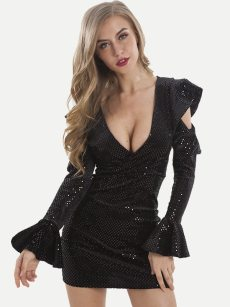 Plunge Neck Sexy Bodycon Sequin Mini Dress