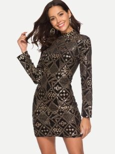 Black Sequin Bodycon Sexy Dress