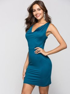 V Neck Tie Back Bodycon Mini Dress