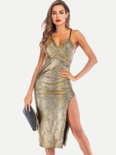 Snakeskin Print Backless Slit Side Bodycon Dress