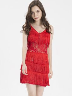 Red See Through Bodycon Tassel Cami Dress