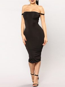 Off Shoulder Bodycon Tie Back Midi Dress