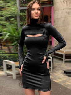 Open Front Long Sleeve Bodycon Dress