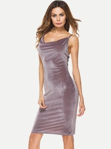 Ruched Bodycon Velvet Slip Midi Dress