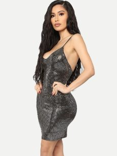 Black Sequin Bodycon Slip Dress