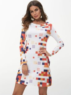 Grid Print Mini Casual Dress