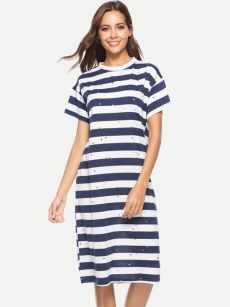 Striped Sequin Cotton Knee Dress