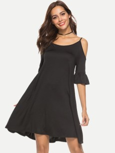 Black Off Shoulder Sexy A-line Dress