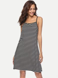 Black Striped Backless Slip Dress