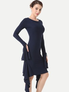 Flounce Sleeve Irregular Bodycon Dress