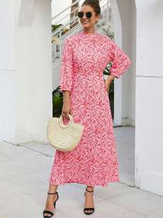 Pink Floral Printed A-line Maxi Dress