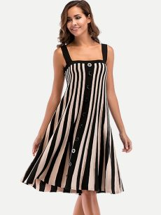 Striped Sleeveless Midi Cami Dress