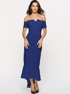 Off Shoulder Mermaid High Low Cocktail Dress