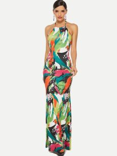 Floral Print Bodycon Backless Maxi Dress