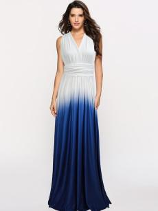 Gradient Tie Back Backless Maxi Prom Dress