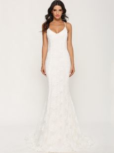 White Embroidered Backless Trailing Wedding Dress