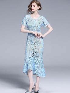 Blue Lace Bodycon Mermaid Evening Dress