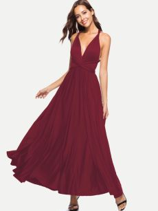 Solid Backless A-line Maxi Prom Dress