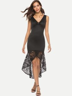 Black V Neck Lace Bodycon High Low Dress
