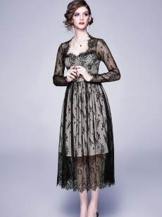 Square Neck Lace Embroidered Evening Dress