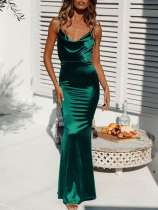 Solid Bodycon Slip Velvet Mermaid Dress