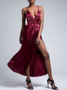 V Neck Backless Satin Slip Formal Dress