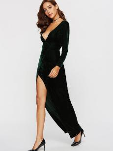 Green High Slit Velvet Maxi Prom Dress