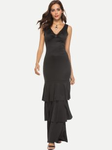 Black Layered Ruffle Bodycon Tank Party Dress