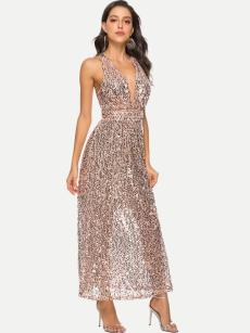 Plunge Neck Sequin Backless Maxi Formal Dress