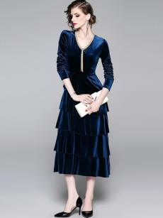 Solid V Neck Velvet Layered Elegant Dress