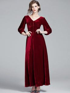 Red V Neck A-line Velvet Prom Dress