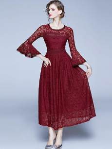 Burgundy Flare Sleeve Lace Swing Formal Dress