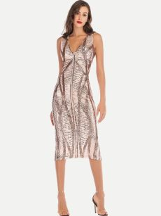 V Neck Sequin Fitted Midi Cocktail Dress