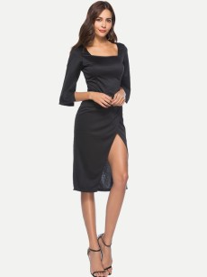 Black Slit Front Fitted Midi Cocktail Dress
