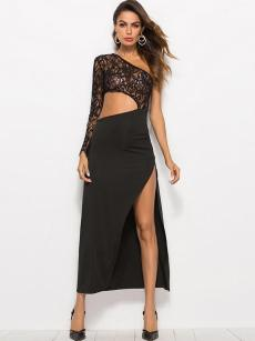 Black One Shoulder Cut Out Lace Slit Dress