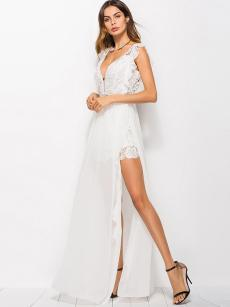White Plunge Neck Lace Chiffon Slit Prom Dress