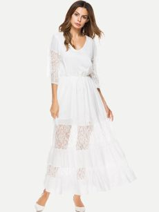 White Lace Patchwork Swing Prom Dress