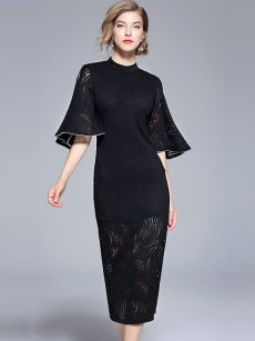 Black Flare Sleeve Lace Bodycon Formal Dress