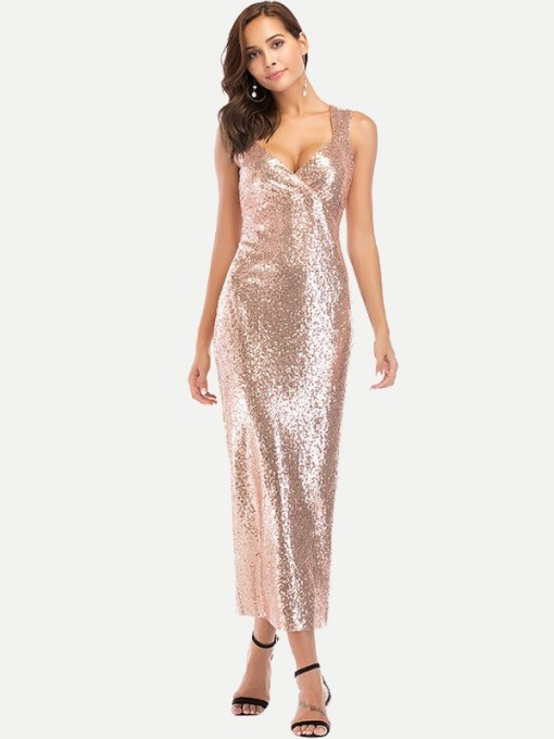 V Neck Sequin Bodycon Tank Cocktail Dress