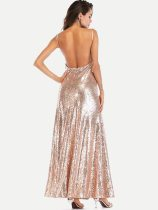 Gold Sequin Backless Maxi Party Dress