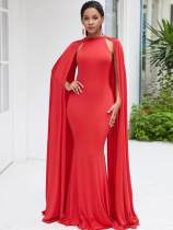 Batwing Sleeve Bodycon Mermaid Maxi Evening Dress