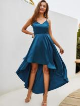 V Neck High Low Backless Satin Prom Dress