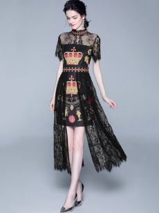 Embroidered Contrast Lace Fitted Cocktail Dress