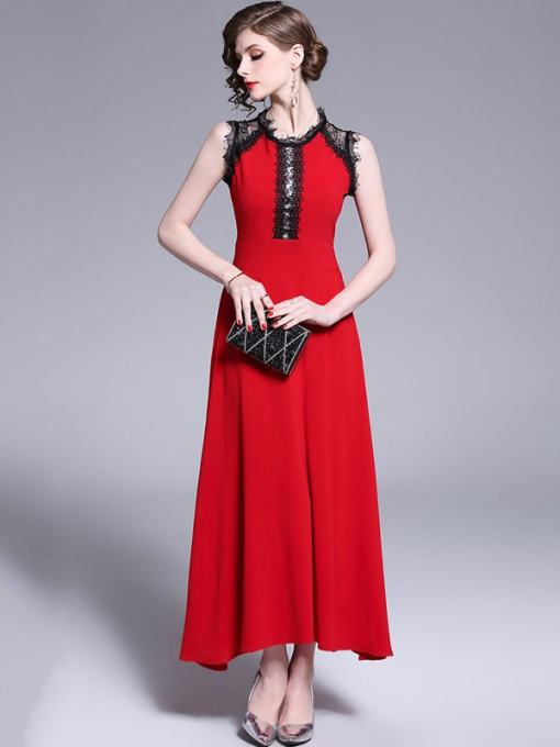 Red Lace Patchwork Swing Maxi Prom Dress