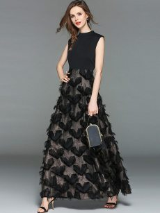 Black Tassels Tank Slim Maxi Evening Dress