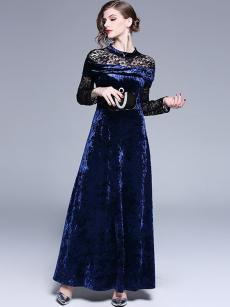Navy Contrast Lace Velvet A-line Maxi Formal Dress